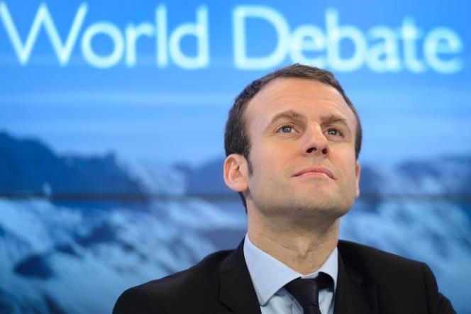 Le ministre de l'économie et des finances Emmanuel Macron au Forum économique de Davos (Suisse) le 22 janvier 2016.