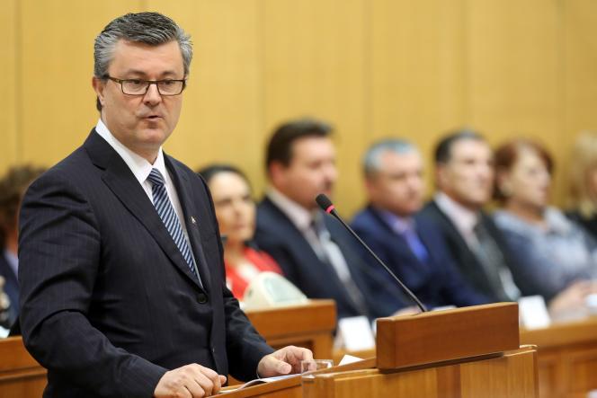 Tihomir Oreskovic lors de son discours devant le parlement croate, le 22 janvier à Zagreb.