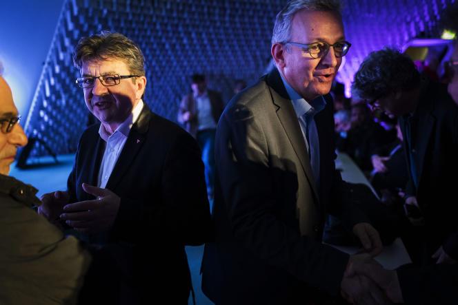 Jean-Luc Mélenchon et Pierre Laurent, au siège du Parti communiste français, à Paris, le 11janvier.