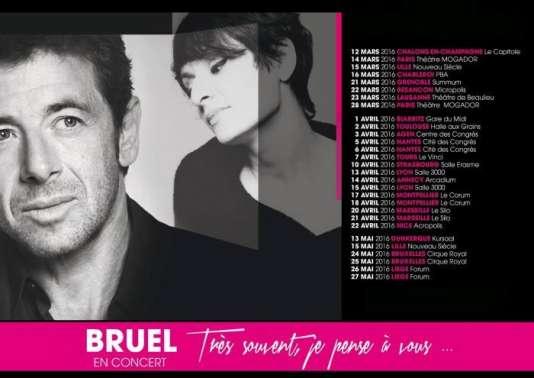 Capture d'écran sur le site Patrickbruel.com du visuel et dates de la tournée de Patrick Bruel.