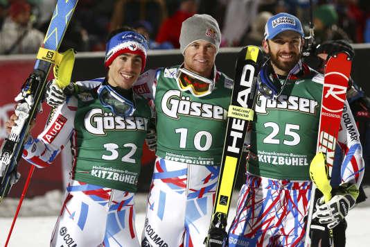 Pinturault, à son troisième succès consécutif dans l'épreuve combinée de l'étape autrichienne, a devancé Muffat-Jeandet et Mermillod-Blondin pour un premier triplé français depuis 1970.