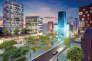 Projet du programme immobilier Cogedim situé au cœur du nouveau centre-ville de Massy, dans le quartier Atlantis, place du Grand-Ouest. Vue de nuit.