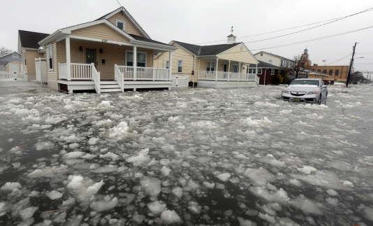 A North Wildwood, dans le New Jersey, la tempête Jonas a provoqué d'impressionnantes inondations, le 23 janvier 2016.