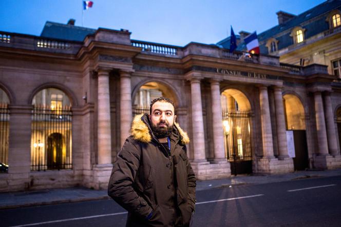 Halim A., le 19 janvier, après son audience au Conseil d'Etat.