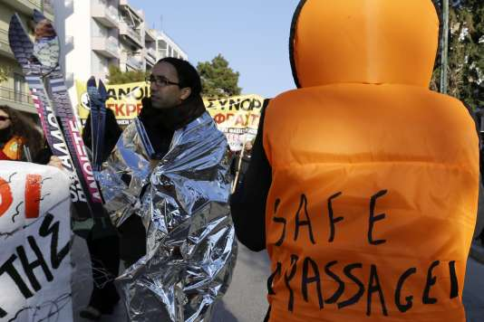 Lors du rassemblement en faveur des migrants, le 23 janvier, à Alexandroupolis, près de la frontière greco-turque.