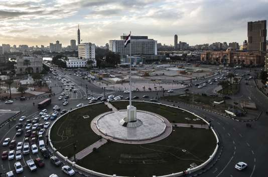 La place Tahrir au Caire le 24 janvier 2016, veille du cinquième anniversaire de la révolution égyptienne.