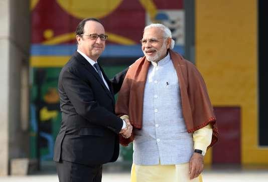 Francois Hollande rencontre le Premier Ministre indien, Narendra Modi, à Chandigarh le 24 janvier 2016.