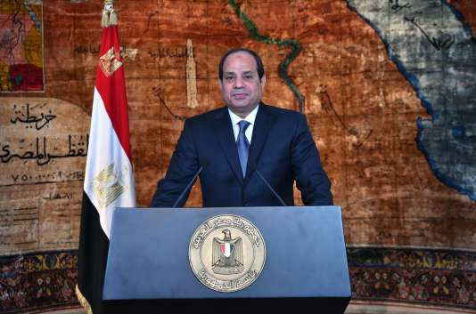Abdel Fattah Al-Sissi, lors d'une allocution télévisée au palais d'Héliopolis, au Caire, le 24janvier.
