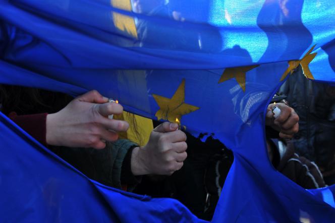 Manifestation pro-migrants à Kastanies en Grèce le 24 janvier contre le mur d'Evros érigé à la frontière greco-turque.
