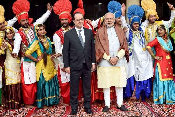 Francois Hollande et le Premier Ministre indien, Narendra Modi, à Chandigarh le 24 janvier 2016.