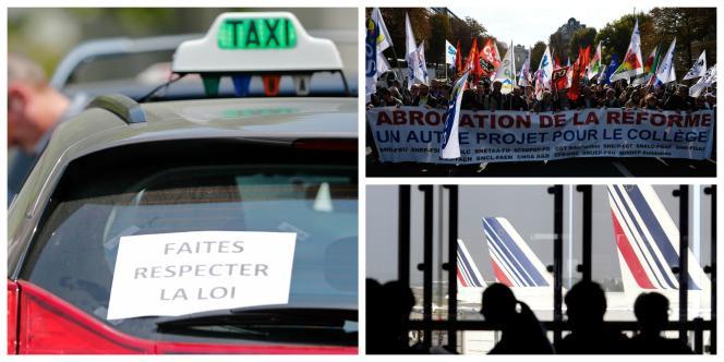 Les syndicats d'enseignants, des contrôleurs aériens ou encore des taxis appellent à des mouvements de grève, qui risquent de paralyser la France mardi26janvier.