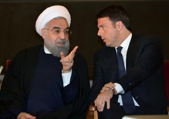 Le président iranien, Hassan Rohani, avec le premier ministre italien, Matteo Renzi, à Rome, le 25 janvier 2016.