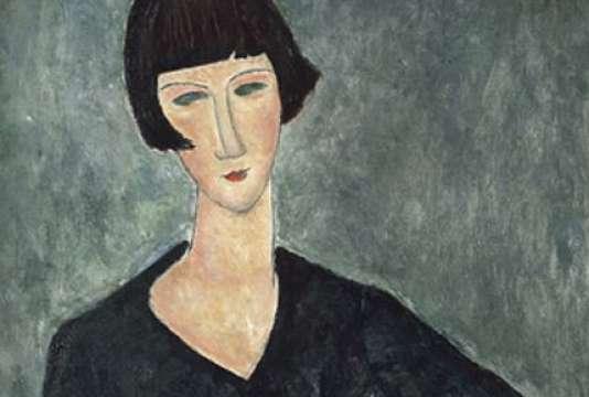 """Détail de """"Femme assise à la robe bleue"""" (Moderna Museet, Stockholm) d'Amedeo Modigliani."""