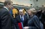 Le ministre de la justice néerlandais Ard van der Steur, le ministre français de l'intérieur Bernard Cazeneuve  et la ministre de la justice irlandaise Frances Fitzgerald, lundi 25 janvier, à Amsterdam.