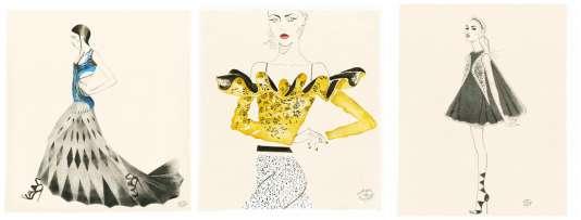 De gauche à droite : Atelier Versace, Christian Dior et Giambattista Valli.