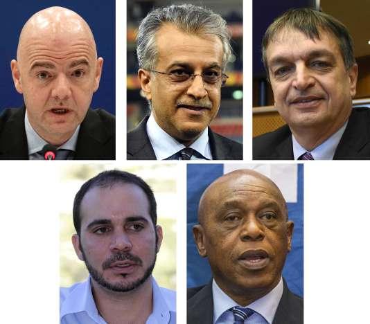 Les cinq candidats à la présidence de la FIFA : Gianni Infantino, Salman Ben Ibrahim Al-Khalifa, Jérôme Champagne, Ali Ben Al-Hussein et Tokyo Sexwale.