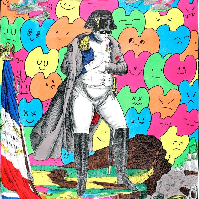 Editée par l'Imagerie d'Epinal, «Napoléon Thug Life», œuvre de l'artiste franco-colombien Chanoir, inspirée de la gravure «Napoléon sur l'île de Sainte-Hélène»  de François Georgin.