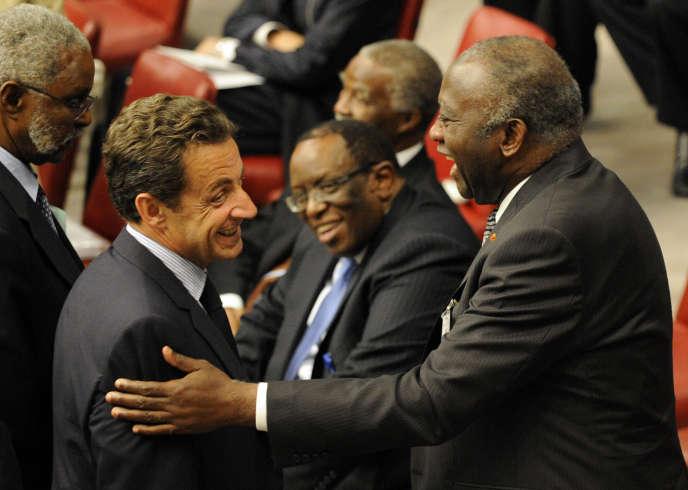 Nicolas Sarkozy et Laurent Gbagbo lors de l'assemblée générale des Nations-Unies à New York, le 25 septembre 2007.