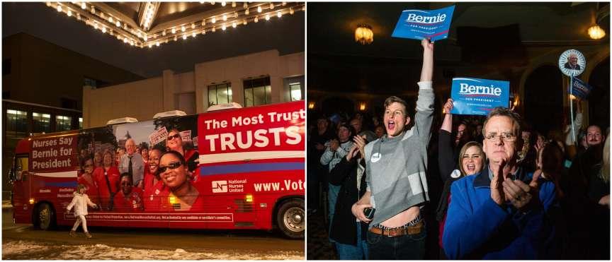 Depuis 1972, année où l'Iowa est devenu le premier Etat à choisir les candidats à la présidentielle américaine, pas un seul comté n'échappe à la visite des prétendants. A gauche, le bus de campagne de Bernie Sanders, le rival démocrate d'Hillary Clinton. A droite, ses supporters lors de son meeting à Sioux City, le 19 janvier.