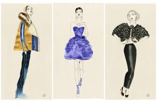 De gauche à droite : Bouchra Jarrar, Girogio Armani Privé et Chanel.