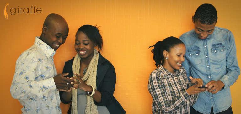 Campagne de présentation de l'application mobile Giraffe dans la capitale sud-africaine.