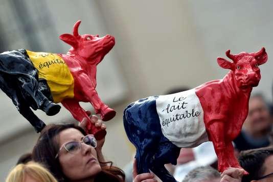 Des membres de l'European Milk Board, à Rome, le 27 janvier.