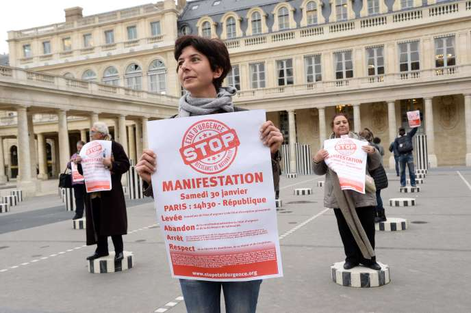 Manifestation contre l'état d'urgence, le 30 janvier, à Paris.