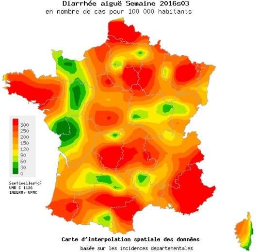Episode de diarrhée aiguë enregistré en France, du 18 au 24 janvier 2016.