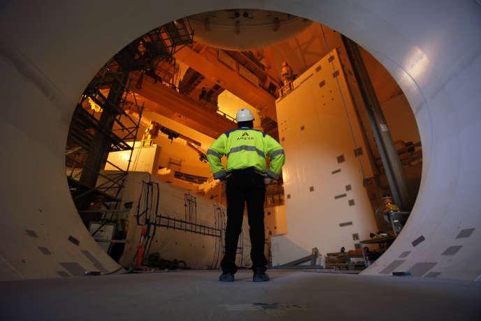 L'entrée permettant l'installation de la cuve nucléaire à l'EPR Olkiluoto 3, en Finlande, en août 2010.