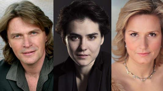"""Le ténor Klaus-Florian Vogt, la chef d'orchestre Marzena Diakun et la soprano Camille Nylund dans """"La Ville morte"""" de Korngold."""