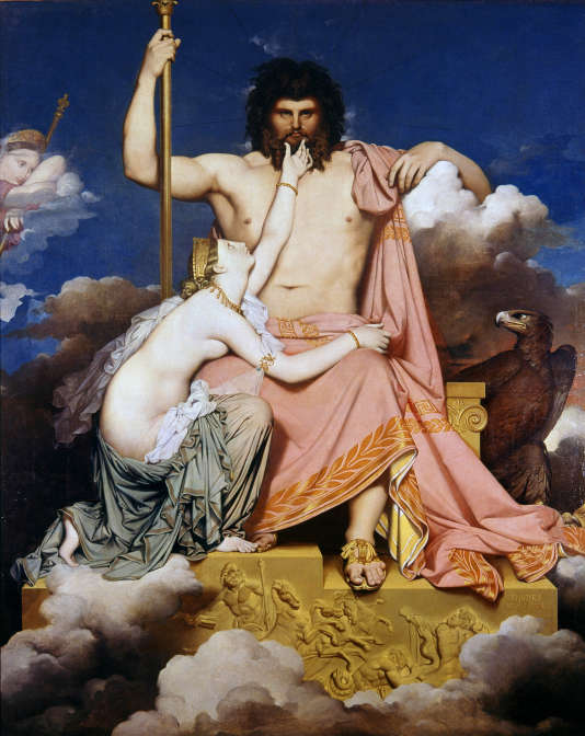 Jupiter (Zeus) et Thétis. Peinture de Jean-Auguste-Dominique (Jean Auguste Dominique) Ingres (1780-1867). Musée Granet. Aix-en-Provence.