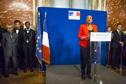 Christiane Taubira s'exprime devant la presse à la suite de sa démission du poste de ministre de la justice, le 27 janvier, à Paris.