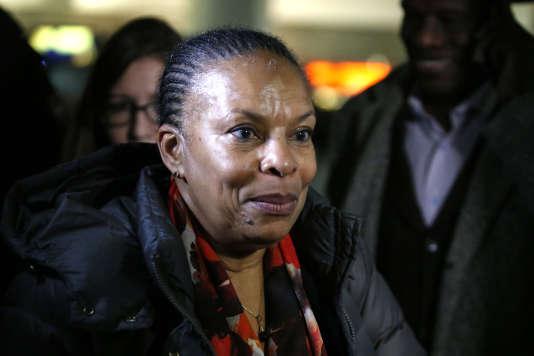 Christiane Taubira à l'aéroport international de New-York le 28 janvier 2016.
