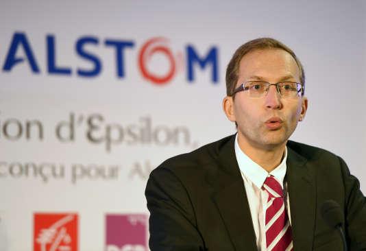 Henri Poupart-Lafarge, le nouveau PDG d'Alstom.                               AFP PHOTO/PHILIPPE DESMAZES / AFP / PHILIPPE DESMAZES