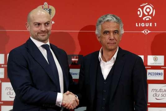 Le president de Nice Jean-Pierre Rivere et le britannique Edward Blackmore, le 29 janvier.