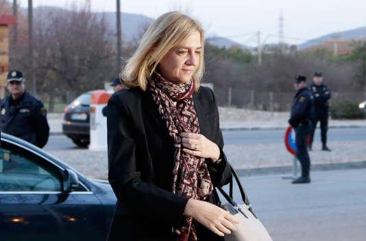 La princesse Cristina le 11 janvier à l'ouverture de son procès à Palma de Majorque aux Baléares.