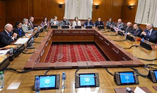 Lors de l'ouverture de la réunion sur la Syrie au Palais des Nations, à Genève, vendredi 29 janvier.