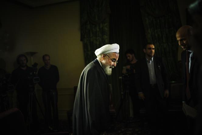 Le président iranien Hassan Rohani à l'Elysée, le 28 janvier 2016.