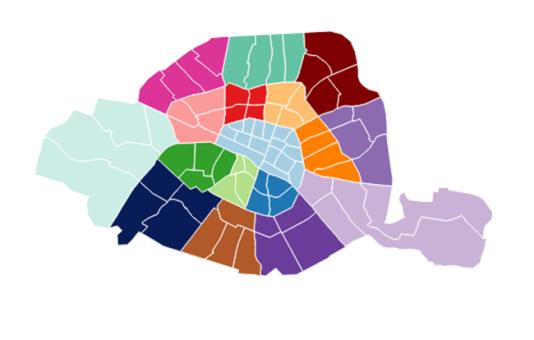 La carte des arrondissements de Paris, une fois les 1er, 2e, 3e et 4e arrondissements fusionnés