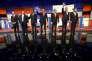 Les candidats  Républicains Rand Paul, Chris Christie, Ben Carson, Ted Cruz, Marco Rubio, Jeb Bush et John Kasich à Des Moines dans l'Iowa le 28 janvier 2016.