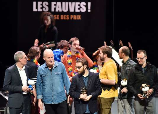 Quelques-uns des auteurs récompensés lors du Festival international de la bande dessinée d'Angoulême, le 30 janvier 2016.