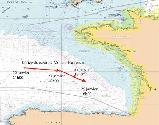 """La trajectoire du """"Modern Express"""" depuis l'émission de son signal de détresse."""