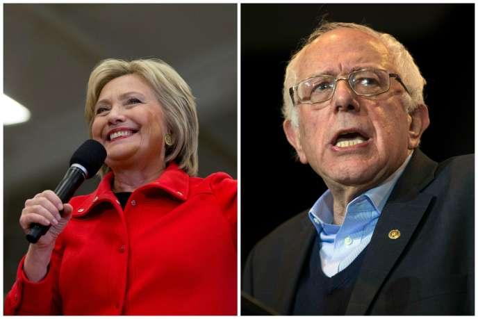 La candidate Hillary Clinton et le candidat Bernie Sanders pendant des meetings de campagne, le samedi 30 janvier à Cedar Rapids, dans l'Iowa.