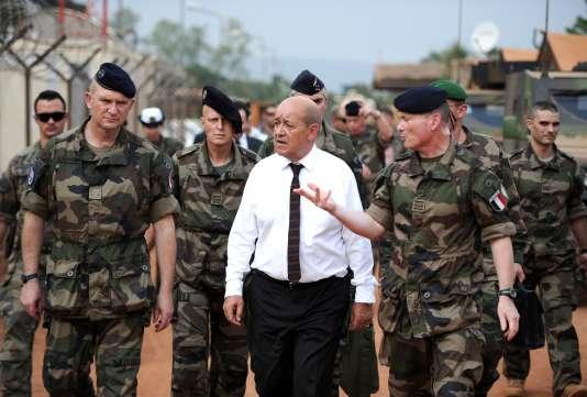 Le ministre de la défense Jean-Yves Le Drian en déplacement en Centrafrique le 7 juillet 2014.