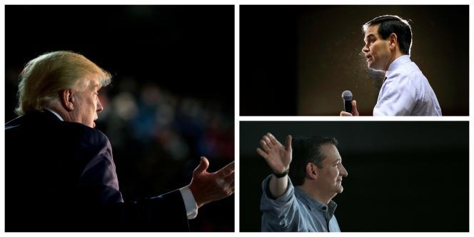 Trump (à gauche), Rubio (en haut à droite) et Cruz (en bas à droite) sont candidats à l'investiture républicaine pour l'élection présidentielle américaine.