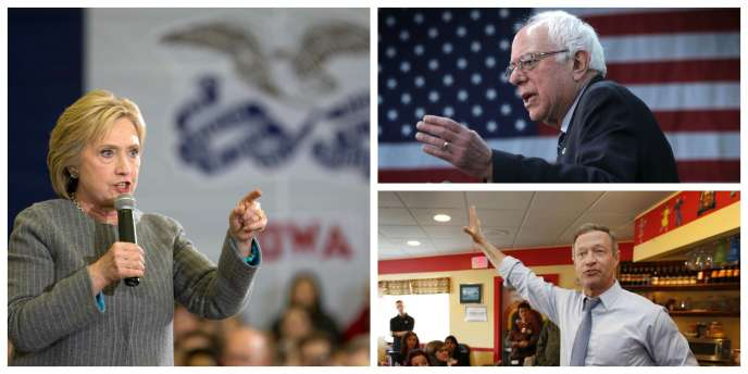 Hillary Clinton (à gauche), grande favorite, est face à Bernie Sanders (en haut à droite) et Martin O'Malley (en bas à droite).