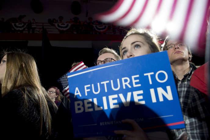Lors d'un meeting de Bernie Sanders, dans l'Iowa.