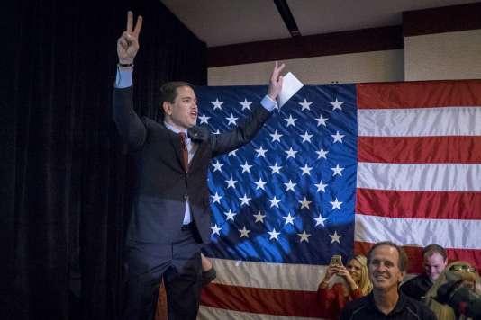 Le sénateur de Floride Marco Rubio, le 1er février, à Des Moines (Iowa), à l'issue du premier caucus de la présidentielle américaine.