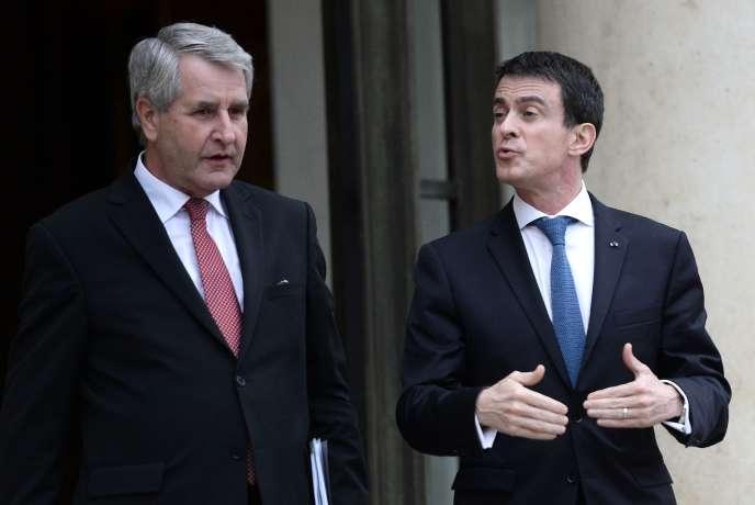 Philippe Richert, le président de l'ARF, et le premier ministre Manuel Valls à l'Elysée le 2février.