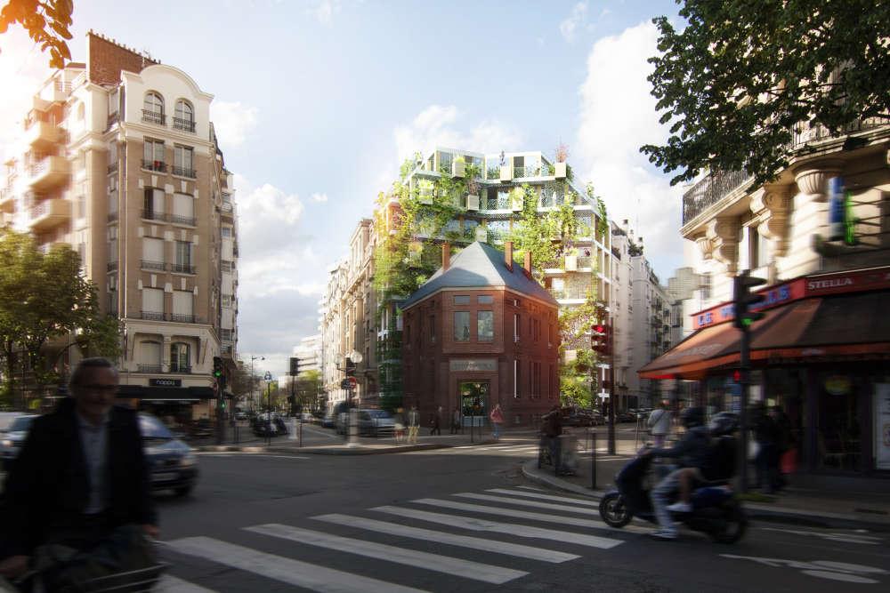 Ce bâtiment typique des années 1930, situé au 34, rue Castagnary (Paris 15e), accueillait des bains-douches jusqu'en octobre 2011. L'objectif est de proposer un immeuble dédié à la colocation étudiante et au coworking. Il sera notamment le plus haut de France à posséder une structure en bois, et sera doté d'une façade végétale.